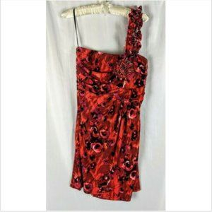 Valerie Bertinelli Sz 14 Women's Red Floral Ruched One Shoulder Bodycon Dress